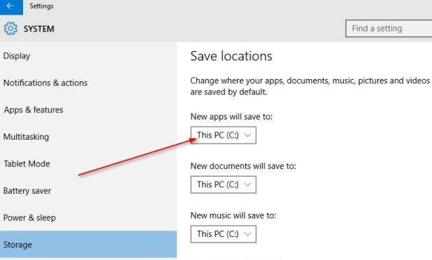 cambiar la ubicación de instalación predeterminada de las aplicaciones en Windows 10 step5.PNG
