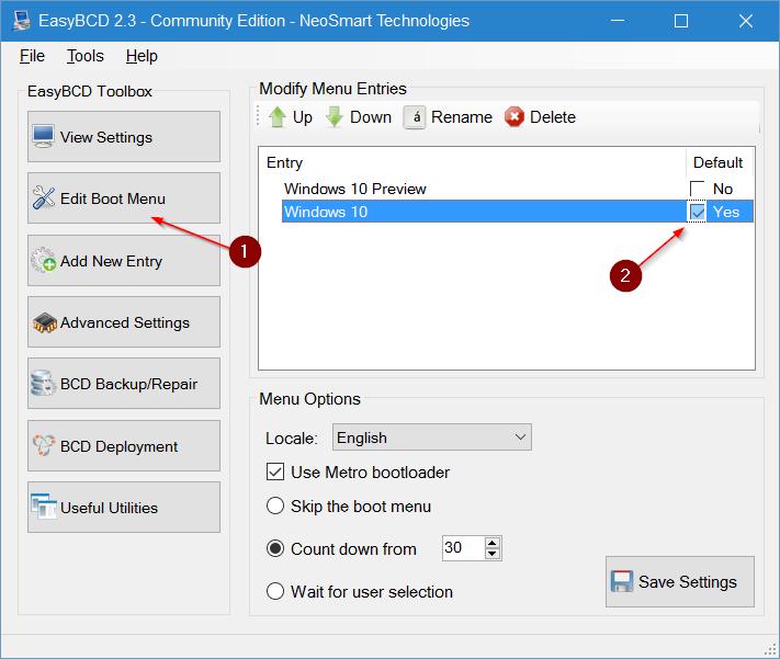 cambiar sistema operativo predeterminado en Windows 10 step7