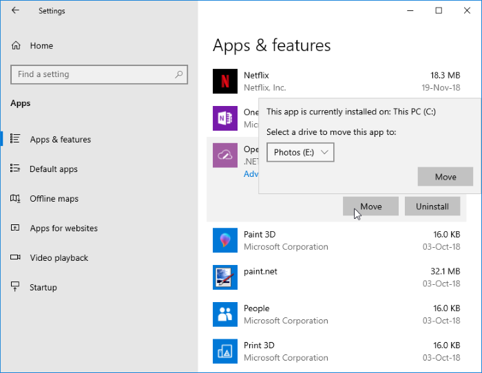 cambiar la ubicación de descarga de las aplicaciones de Windows Store en Windows 10 pic5