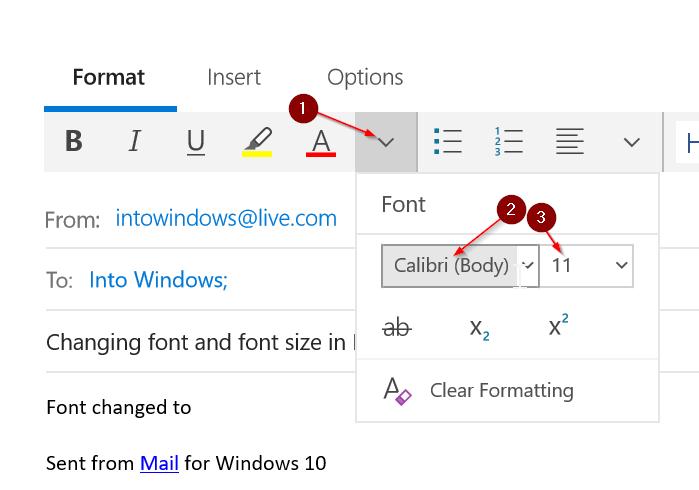 cambiar fuente y tamaño de fuente en Mail app en Windows 10 pic1