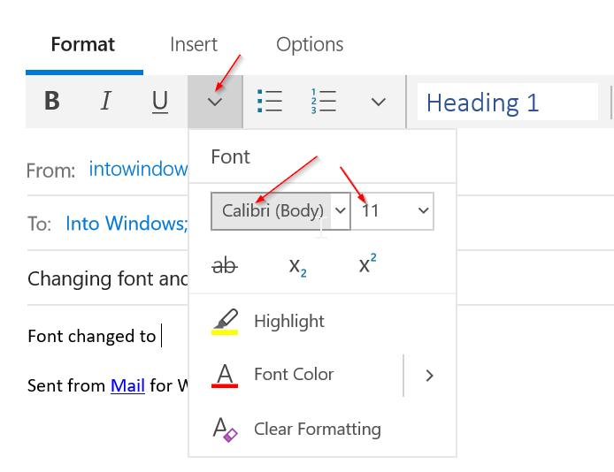 cambiar fuente y tamaño de fuente en Mail app en Windows 10 pic2