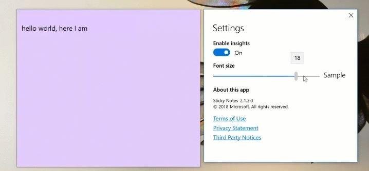 cambiar tamaño de fuente en notas adhesivas en Windows 10