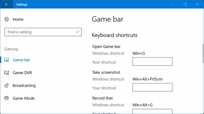 cambiar los atajos de teclado predeterminados de la barra de juegos