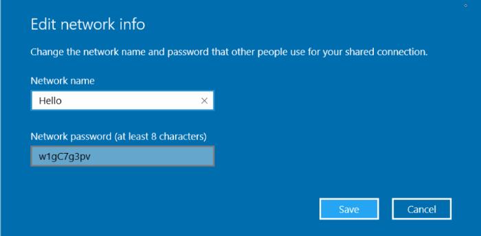 cambiar el nombre y la contraseña de la zona activa móvil en Windows10pic01