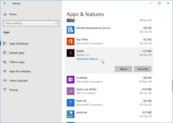 cambiar la ubicación de descarga de netflix en Windows 10 pic03