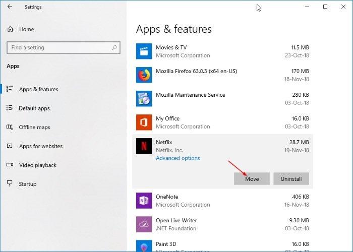 cambiar la ubicación de descarga de netflix en Windows 10 pic2