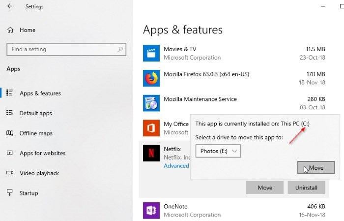 cambiar la ubicación de descarga de netflix en Windows 10 pic4
