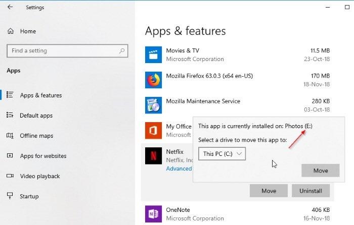 cambiar la ubicación de descarga de netflix en Windows 10 pic6