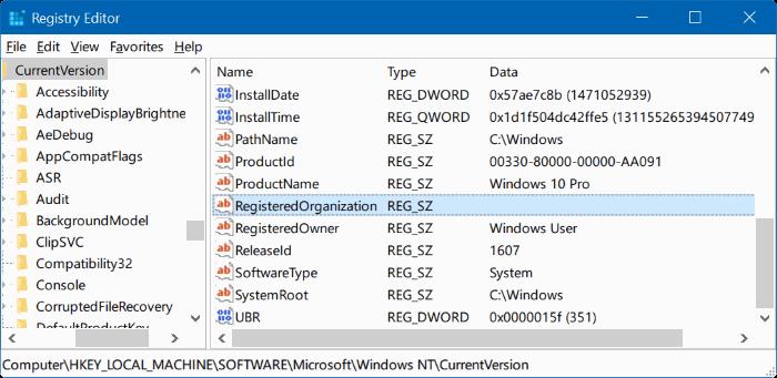 cambiar propietario registrado y nombre de la organización Windows 10 pic2