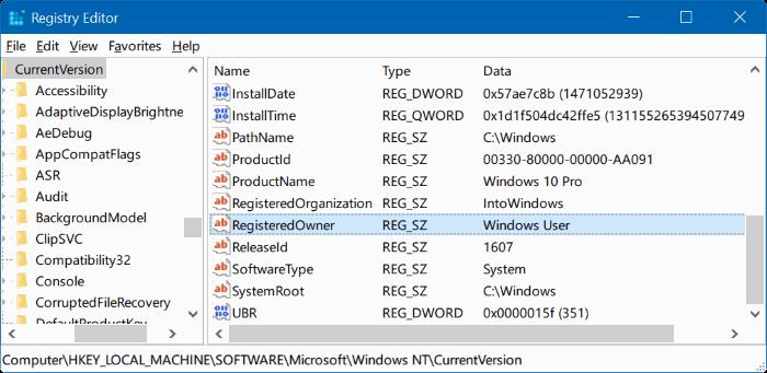 cambiar el propietario registrado y el nombre de la organización Windows 10 pic4