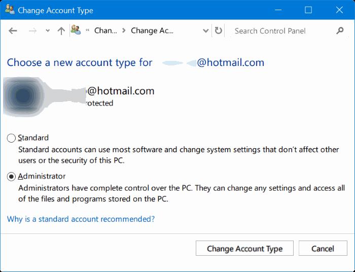 cambiar de cuenta de usuario estándar a cuenta de administrador en Windows 10 pic1