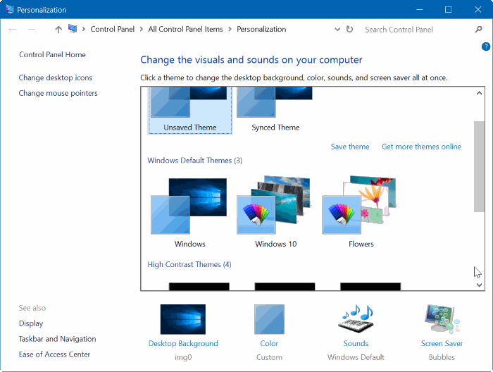 change default desktop theme Windows 10