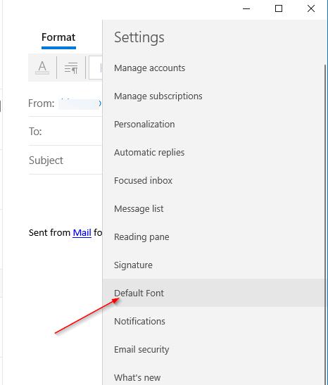 cambiar la fuente predeterminada en Mail app en Windows 10 pic3