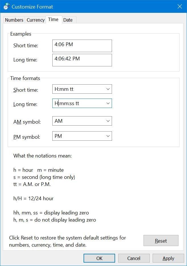 cambiar la hora al formato de 24 horas en Windows 10 pic3