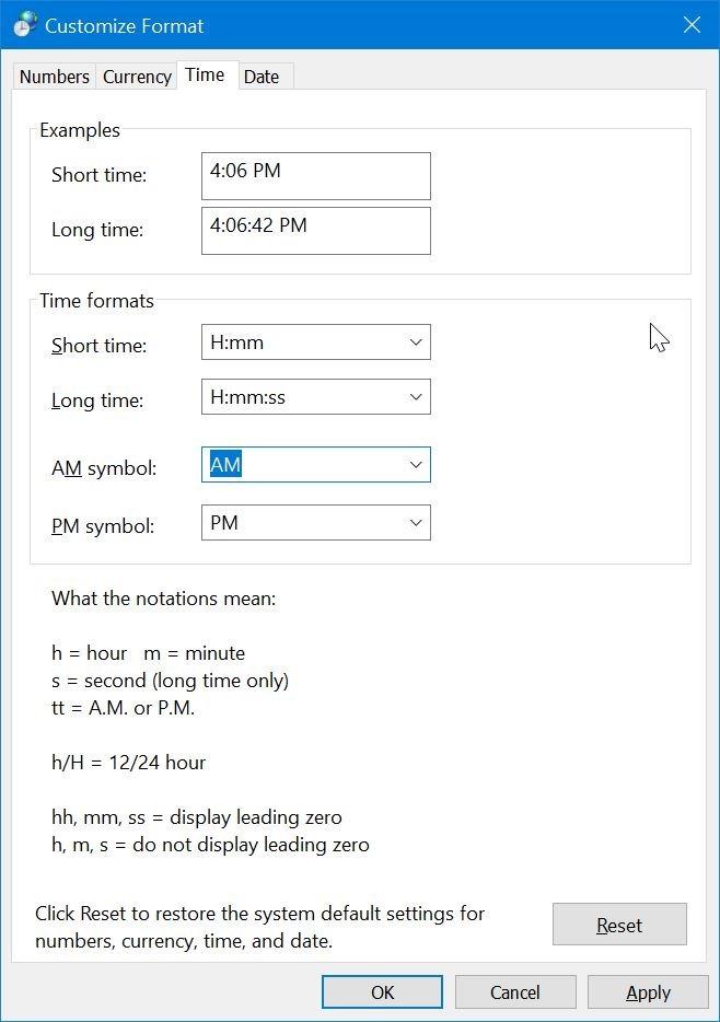 cambiar la hora al formato de 24 horas en Windows 10 pic4