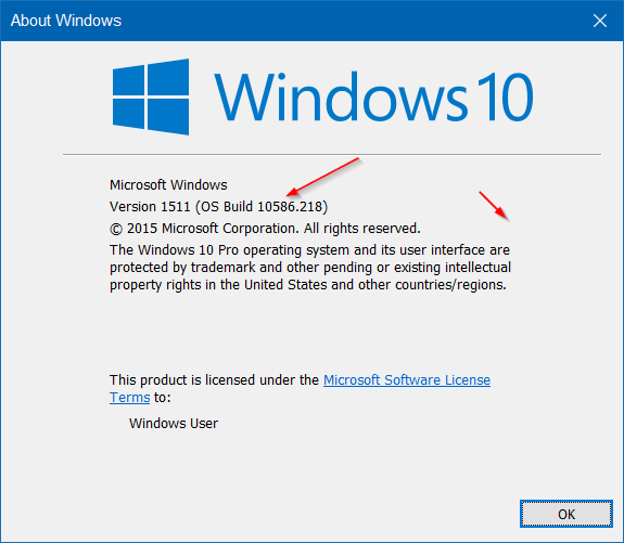 check Windows 10 build number step2