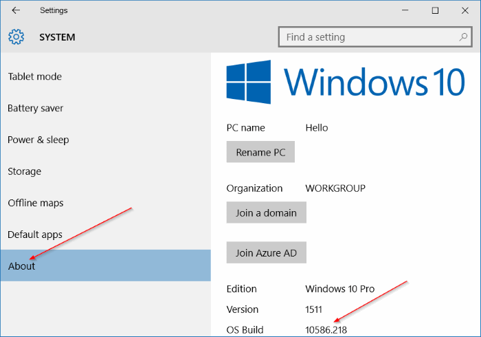 check Windows 10 build number step5