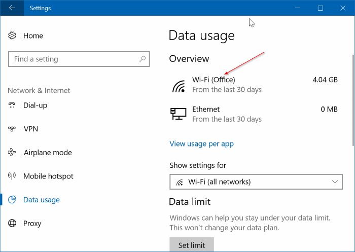 comprobar el uso de datos para redes específicas en Windows 10 pic1