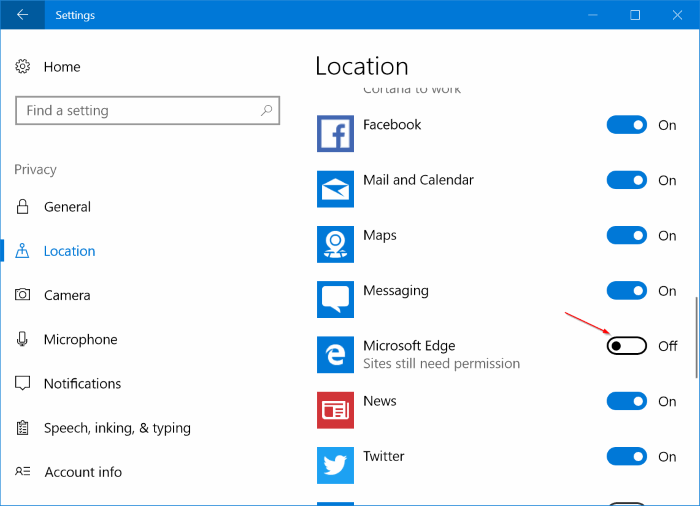 check website has permission to access camera, microphone location in Edge