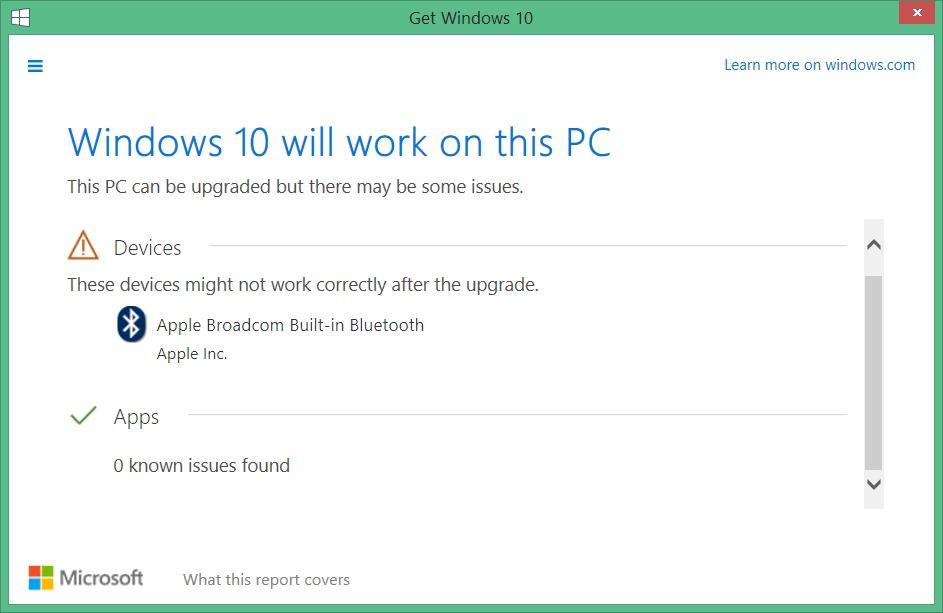 compruebe qué aplicaciones conserva la imagen de actualización de Windows 105