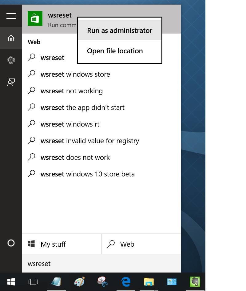 limpiar y restablecer la caché de almacenamiento de Windows en Windows 10 pic1