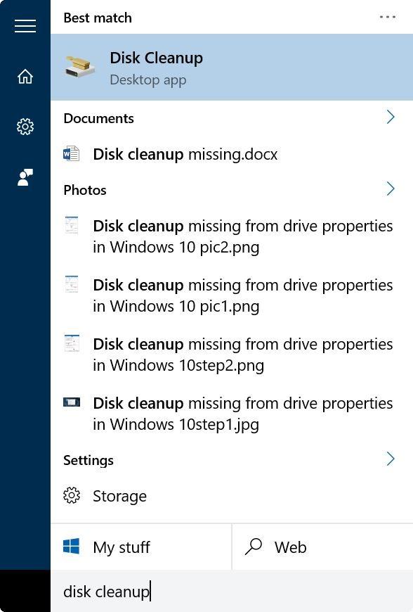 borrar y restablecer la caché de miniaturas en Windows 10 step1