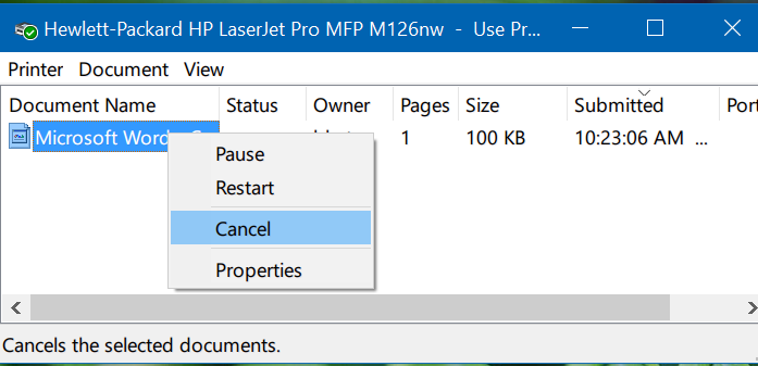 clear print queue in Windows 10 pic2