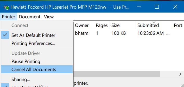 clear print queue in Windows 10 pic3