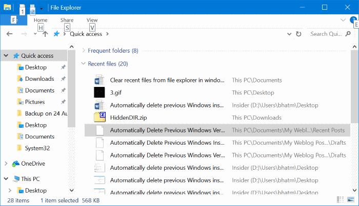 borrar archivos recientes de Windows 10 quick access pic1