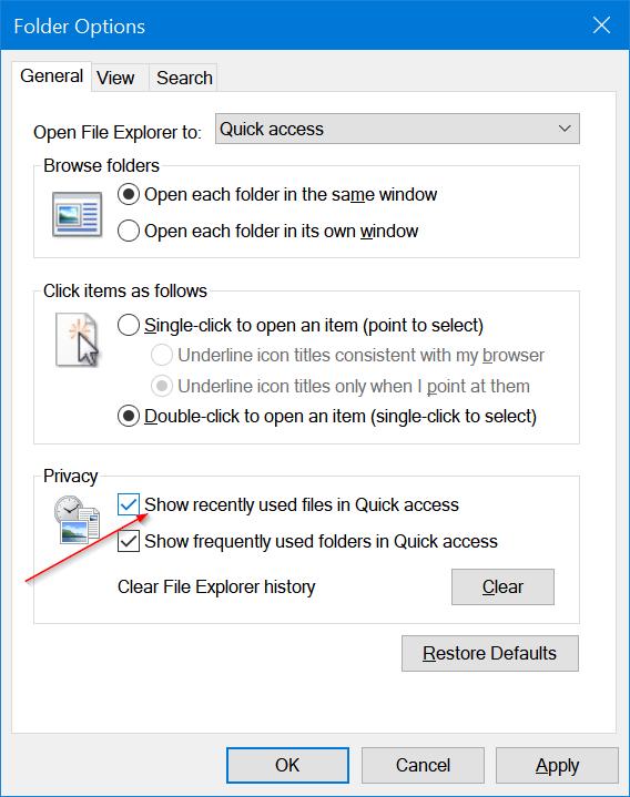 borrar archivos recientes de Windows 10 quick access pic3