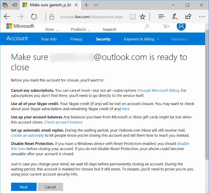 cerrar y eliminar imagen de cuenta de Microsoft1