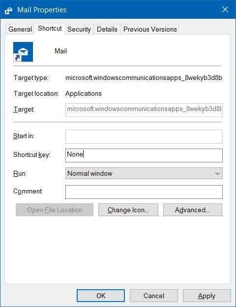 crear atajos de teclado para abrir aplicaciones en Windows 10 step3