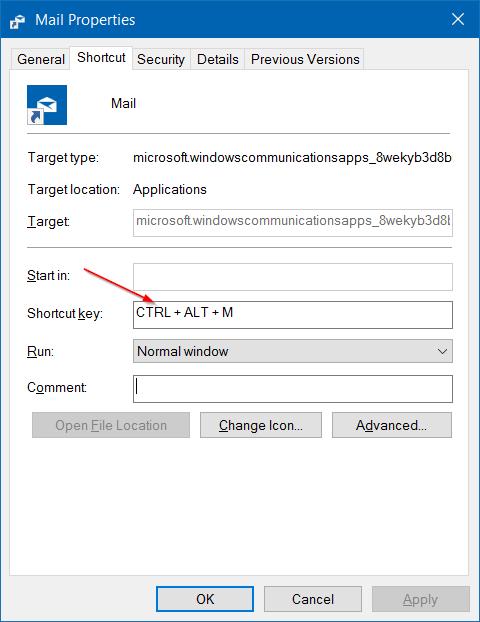 crear atajos de teclado para abrir aplicaciones en Windows 10 step4