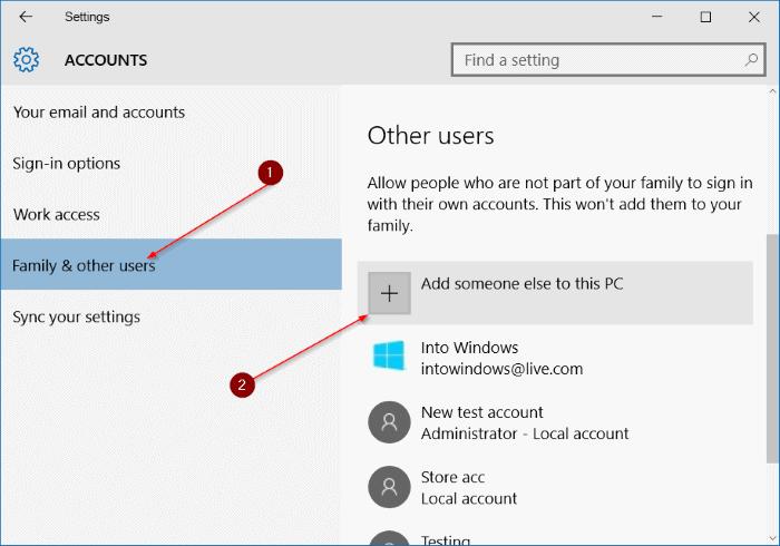 crear una cuenta de usuario local en Windows 10 step3