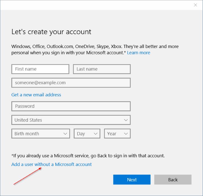 crear una cuenta de usuario local en Windows 10 step5