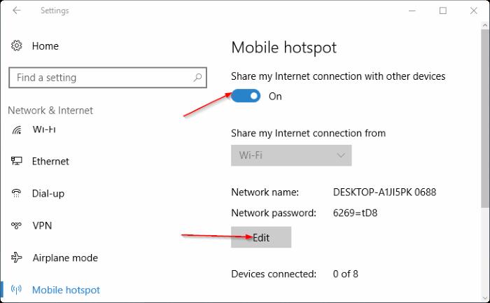 crear punto caliente móvil en Windows 10 pic5