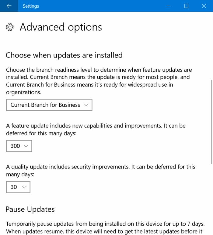 retrasar o diferir actualizaciones en Windows 10 hasta 365 días