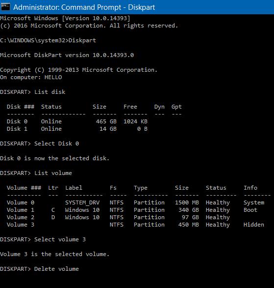 eliminar 450 MB de partición de recuperación en Windows 10 pic2