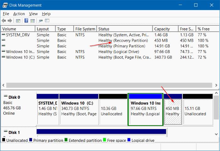 eliminar 450 MB de partición de recuperación en Windows 10