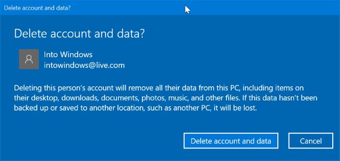 eliminar una cuenta de Microsoft de Windows 10 pic3