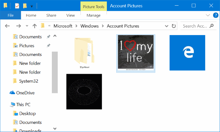 delete old user account pictures in Windows 10 pic2