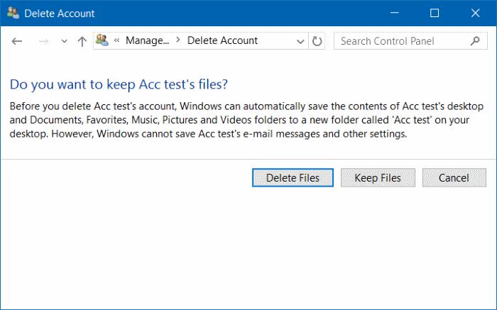 eliminar cuenta de usuario en Windows 10 step10