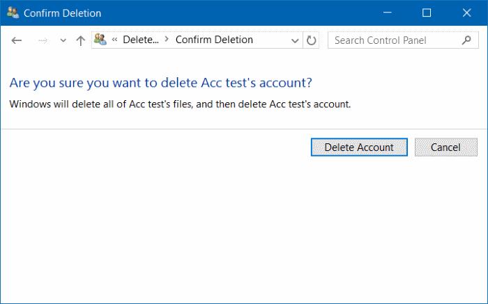 eliminar cuenta de usuario en Windows 10 step11