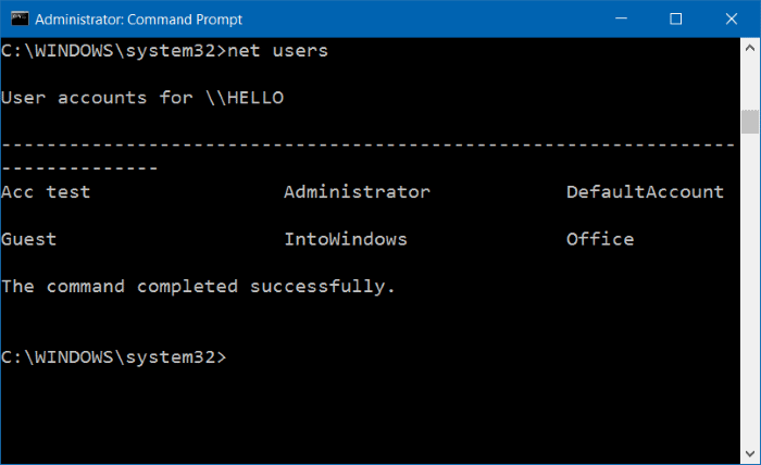 eliminar cuenta de usuario en Windows 10 step15