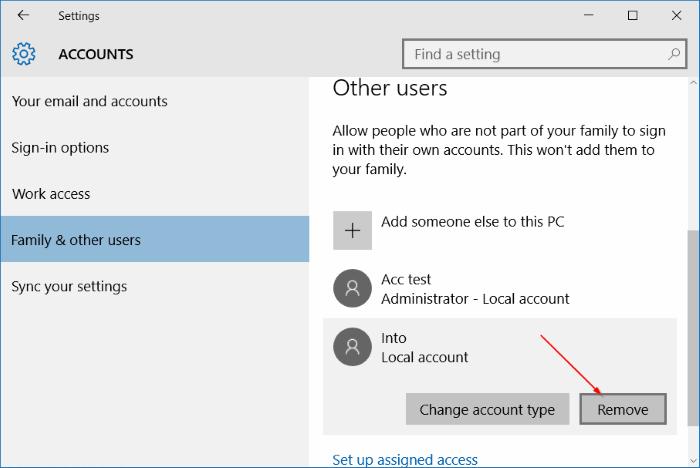 eliminar cuenta de usuario en Windows 10 step3