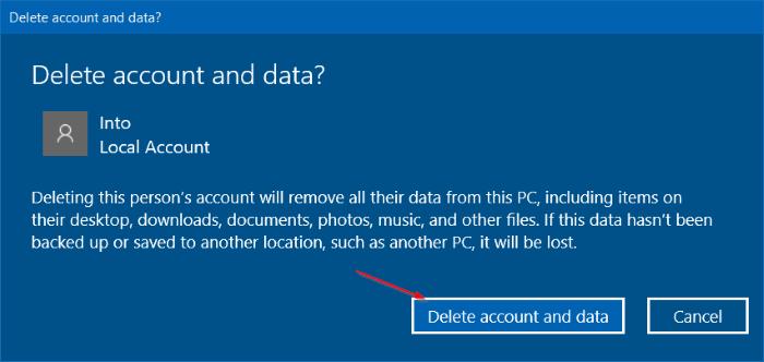 eliminar cuenta de usuario en Windows 10 step4