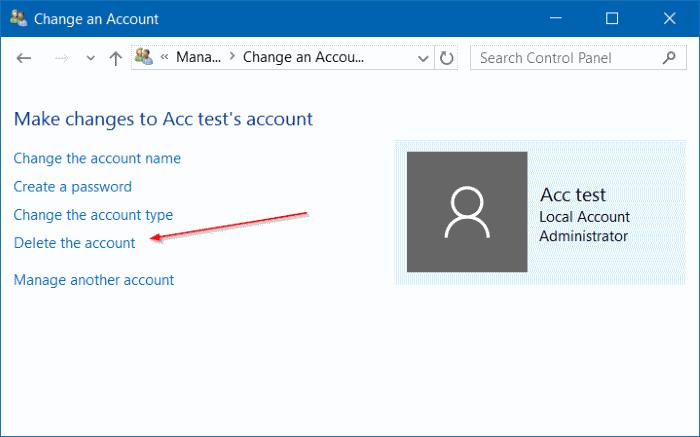 eliminar cuenta de usuario en Windows 10 step9