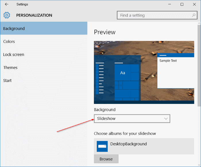 presentación de diapositivas de escritorio que no funciona Windows 10 step1