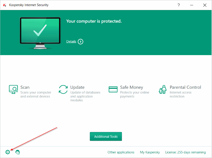 disable Kaspersky safe money step2