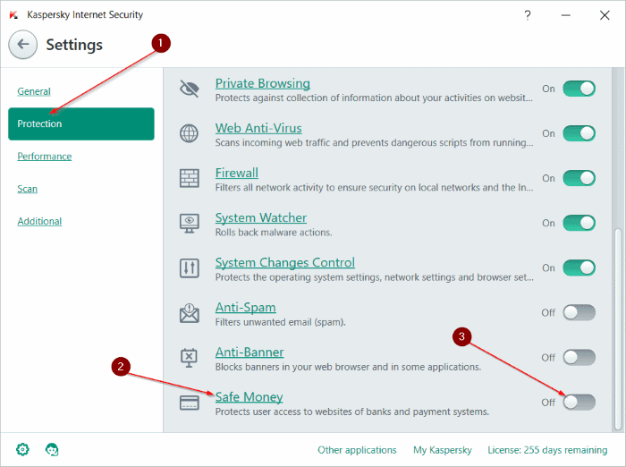 disable Kaspersky safe money step3